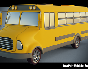 3D model Low Poly Vehicle - Yellow School Bus