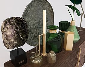 3D vases monstera decorative set
