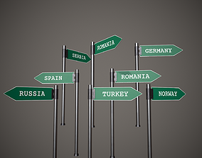 3D asset Direction Signs European Countries