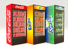 3D Fridge with drinks