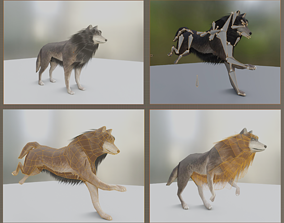 3D asset Wolf Rigged Low-poly and Game-Ready Blender-29