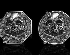 3D model skull earrings studs 2
