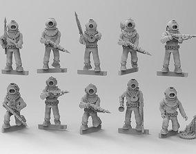 3D print model Vintage Deep Sea Diver Figures with 3