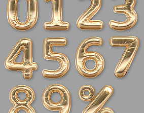 Balloons Numbers Golden 3D model