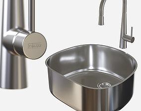 sink-Prestige PRX11021 - faucet-Steel FF3450 - by 3D asset