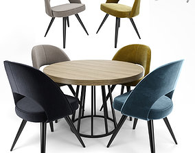 Modrest Gloria Chair with Round Table 3D model