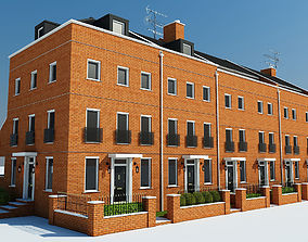 Terraced Town house Building 3D model