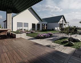 LANDSCAPE BACKYARD DESIGN OF LUXURY HOUSE 3D