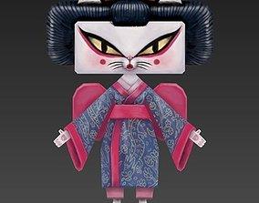 Cat Geisha 3D asset