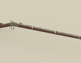 Simple low-poly musket 3D model