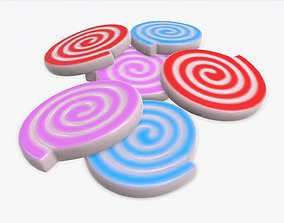 3D model Colorful spiral shape candies