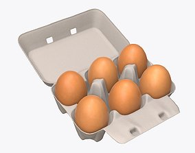3D model Egg cardboard package for 6 eggs opened