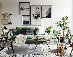 Vintage Living Room Interior Scene for Render 3D model