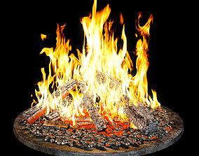 Bonfire 3D model flame