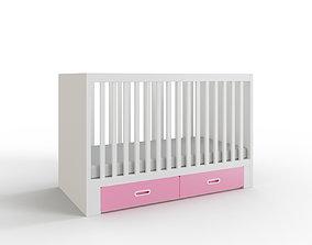 STUVA FRITIDS Crib with drawers light pink 3D asset