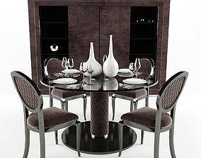 3D Elegant Velvet Lacquered Dining Chair