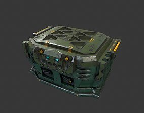 3D asset Low poly sci fi military equipment container
