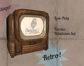 Old Timey 1940s TV - Low-poly version 3D asset