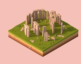 3D model Cartoon Lowpoly Stonehenge Landmark