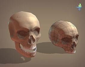 3D model low-poly Skull