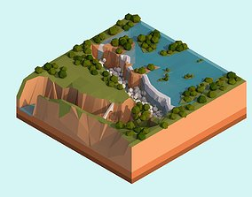 3D model Cartoon Low Poly Victoria Falls