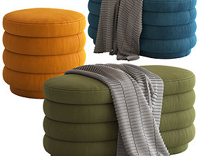 3D Globewest Ribbed Ottomans