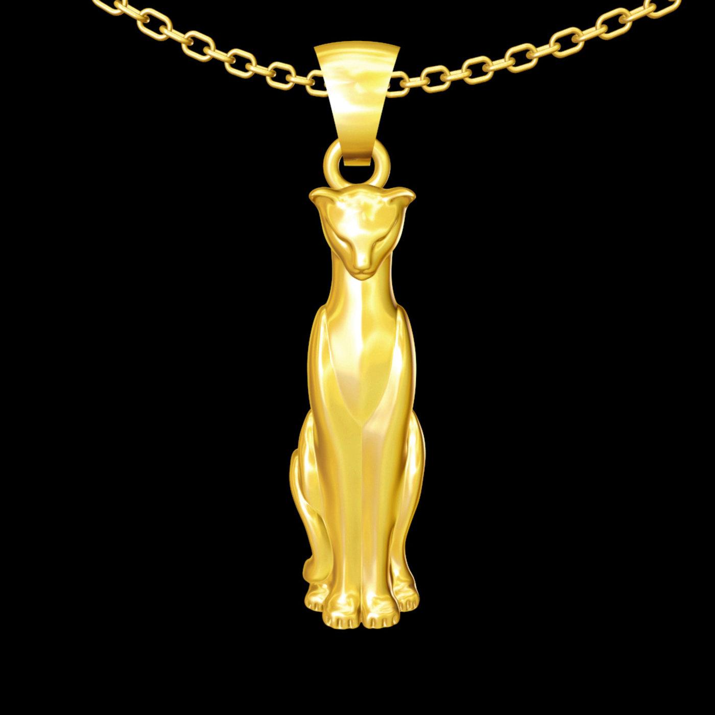 Cat Sculpture pendant jewelry gold necklace 3D print model