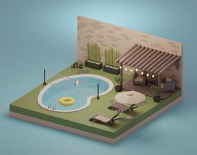 Garden 3D model low-poly
