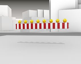 3D asset Construction Barrier 4 with warning lights 600-36