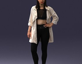 Fashionable girl in white raincoat 0427 3D Print Ready