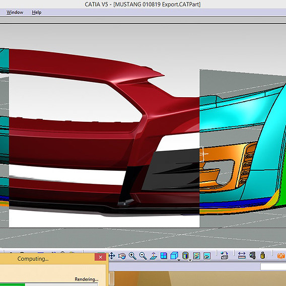 Mustang head bumper for tuning ready for 3D printing