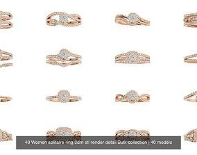 40 Women solitaire ring 3dm stl render detail Bulk