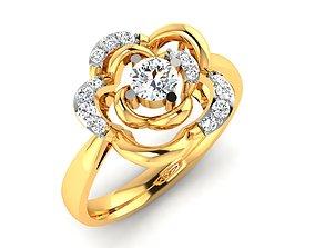 Women flower solitaire ring 3dm stl render detail 1