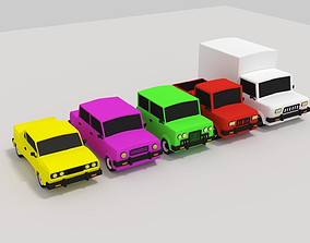 Poly Car pack 3D asset