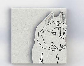 3d printable Husky dog 4 part stl file