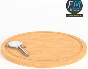 Pizza cutter on cutting board 3D model