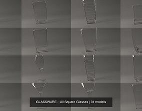 3D model GLASSWARE---All Square Glasses