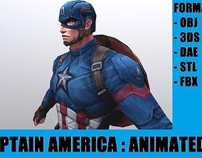 Captain America 3D model animated