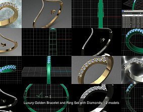 3D model Luxury Golden Bracelet and Ring Set with