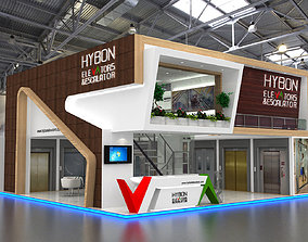 10X10Mtr Mezzanine Exhibition Stand 3D model advertising