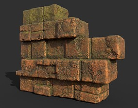 3D asset Low poly Terracotta Ruin Medieval Construction 07