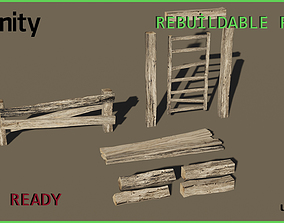 Game Ready Fence - Low poly 3D model