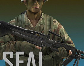 US Navy SEAL Jungle version with MK-43 machine 3D model