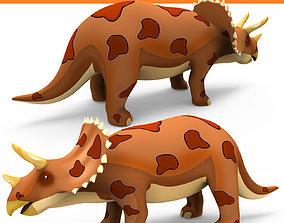 rigged Cartoon Triceratops Rigged 3D Model