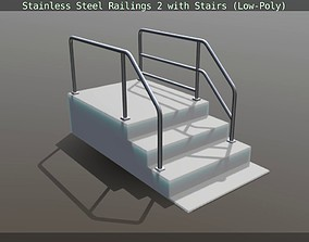 3D model Stainless Steel Railings 2 with Stairs Low-Poly