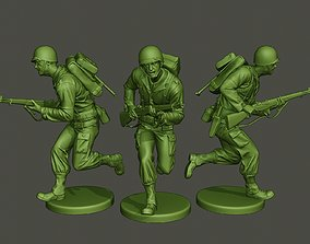 3D print model American soldier ww2 run A1