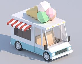 Cartoon Low Poly Car Ice Cream Van 3D asset