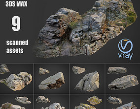 3D asset Cliff landscape pack bundle