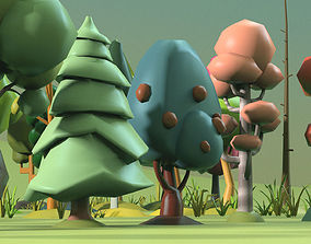 Low Poly tree Big collection 3D model