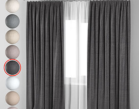 3D model Curtains in 8 neutral colors with tulle
